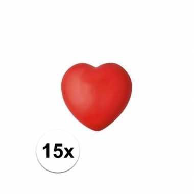 15x hartje stressbal rood 7 cm