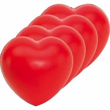 20x stressballen rood hartjes vorm 8 x 7 cm
