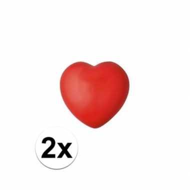2x hartje stressbal rood 7 cm