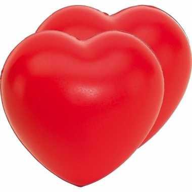 2x stressballen rood hartjes vorm 8 x 7 cm