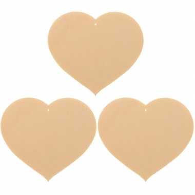 3x houten hartjes 12 x 10 cm hobby/knutselmateriaal