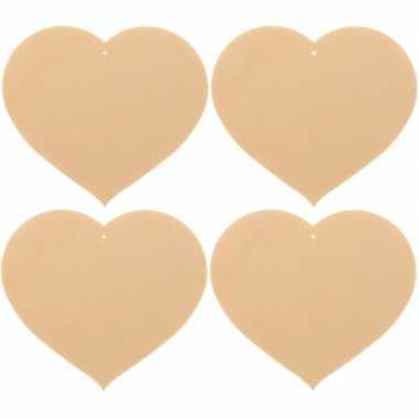 4x houten hartjes 8 x 7 cm hobby/knutselmateriaal