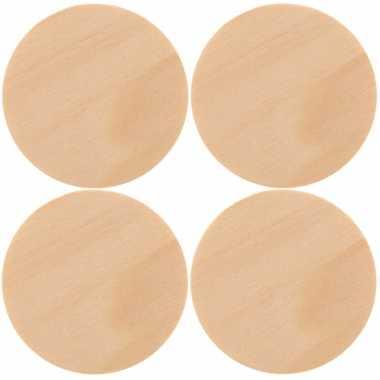 4x houten schijven/cirkels 9 cm hobby/knutselmateriaal