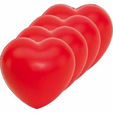 4x stressballen rood hartjes vorm 8 x 7 cm
