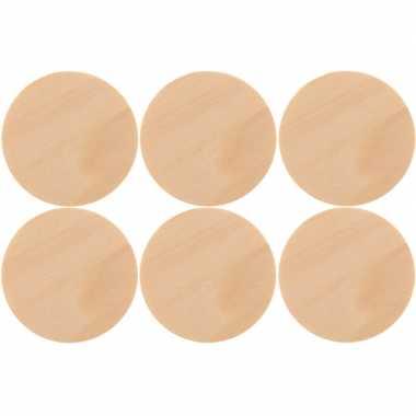 6x houten schijven/cirkels 6 cm hobby/knutselmateriaal