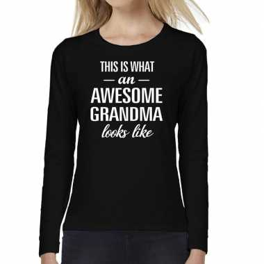 Awesome grandma / oma cadeau t-shirt long sleeves dames