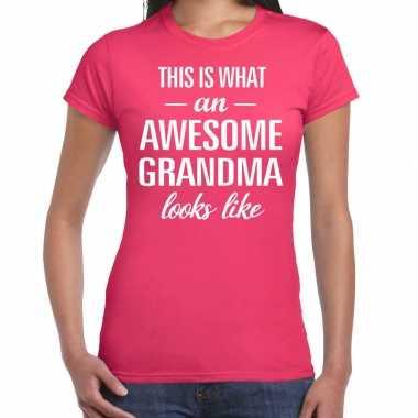 Awesome grandma / oma cadeau t-shirt roze dames