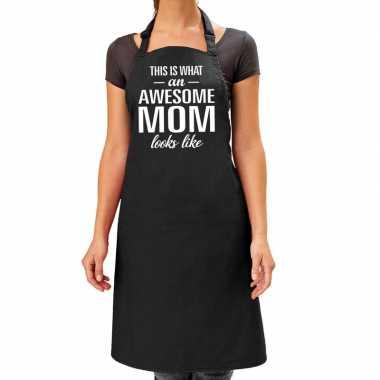 Awesome mom cadeau bbq/keuken schort zwart dames