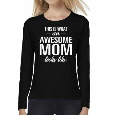 Awesome mom cadeau t-shirt long sleeve zwart voor dames
