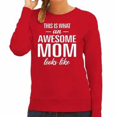 Awesome mom / moeder cadeau trui rood dames