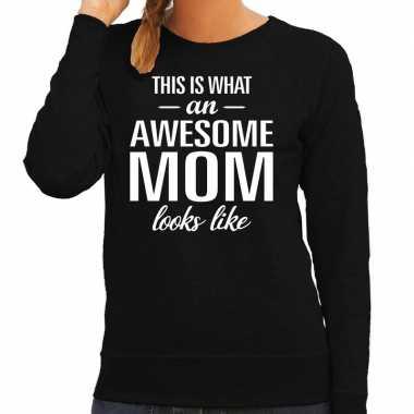 Awesome mom / moeder cadeau trui zwart dames