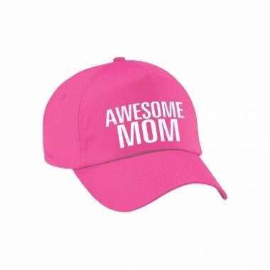 Awesome mom pet / cap voor mama / moederdag roze voor dames