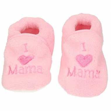Baby pantoffels/slofjes love mama lichtroze