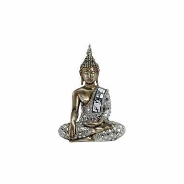 Beeld boeddha brons zilver 33 cm
