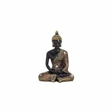 Beeld boeddha zwart goud 11 cm