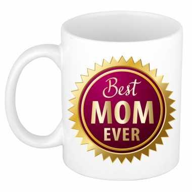 Best mom ever rozet moederdag cadeau mok / beker wit