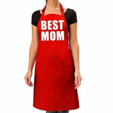 Best mom keukenschort rood voor dames / moederdag