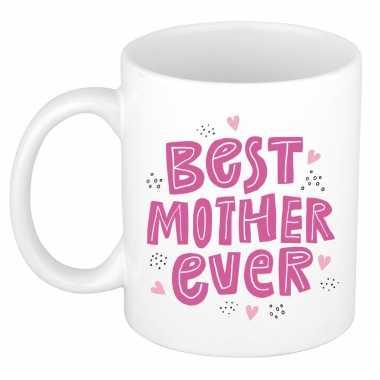 Best mother ever moederdag cadeau mok / beker wit met roze letters en kleine hartjes