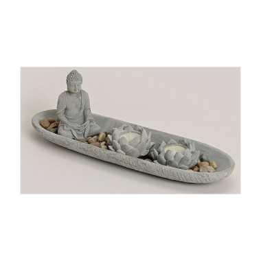 Boeddha zen tuintje met lotus theelicht houder
