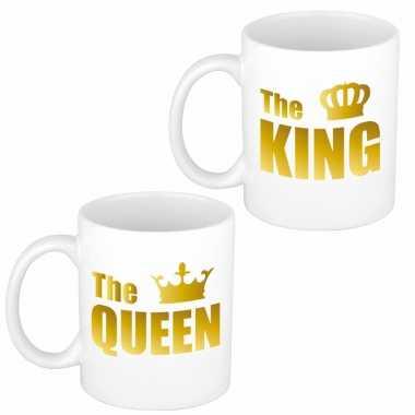 Cadeauset van gouden king en queen mokken/bekers 300 ml