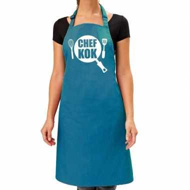 Chef kok barbeque schort / keukenschort turquoise blauw dames
