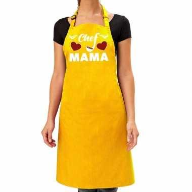 Chef mama keukenschort geel voor dames / moederdag