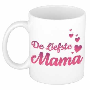 De liefste mama kado mok / beker voor moederdag / verjaardag - roze hartjes