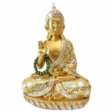 Decoratie boeddha met ketting thais goud 22 cm