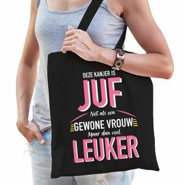 Gewone vrouw / juf katoenen cadeau tas zwart voor dames