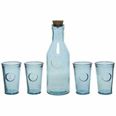 Giftbox met sap/limonade/water karaf en 4x luxe drink glazen