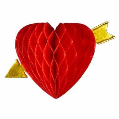 Hang decoratie rode hartjes met pijl van 13 cm