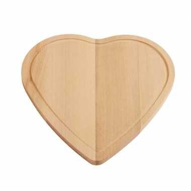 Hartvormig houten snijplank/serveer of ontbijt plankje 16 cm