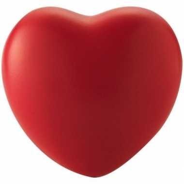 Hartvormig stressballetje rood 7 cm