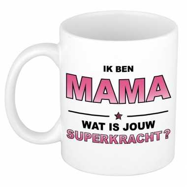 Ik ben mama wat is jouw superkracht kado mok / beker voor moederdag / verjaardag