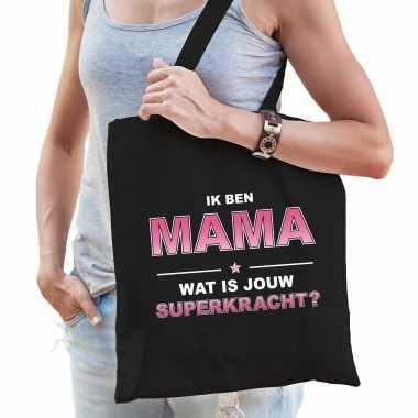 Ik ben mama wat is jouw superkracht tasje zwart voor dames - cadeau tas mama / moederdag