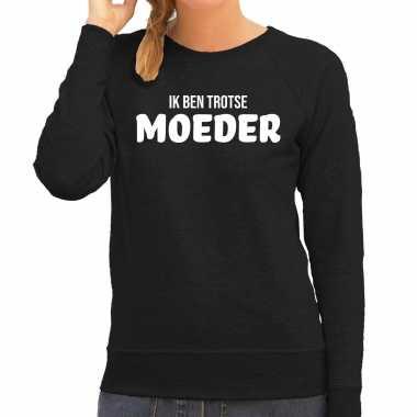 Ik ben trotse moeder sweater / trui zwart voor dames - moederdag cadeau truien mama