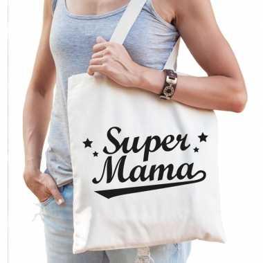 Katoenen cadeau tasje super mama