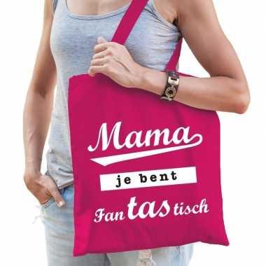 Katoenen moeder cadeau tasje mama je bent fantastisch roze