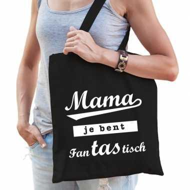 Katoenen moeder cadeau tasje mama je bent fantastisch zwart
