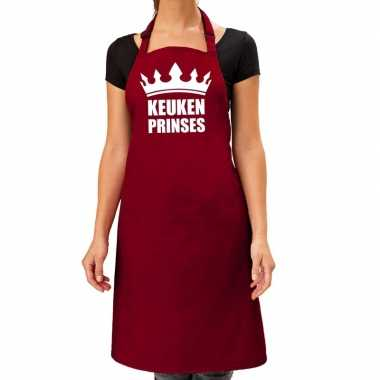 Keuken prinses barbeque schort / keukenschort bordeaux dames