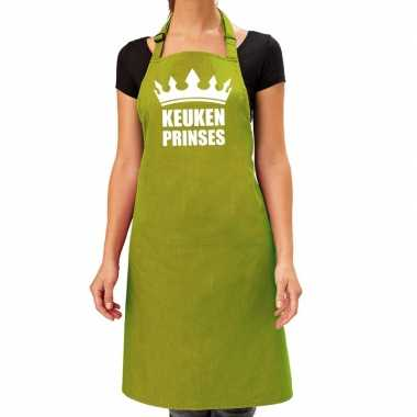 Keuken prinses barbeque schort / keukenschort lime groen dames