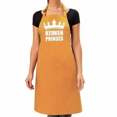 Keuken prinses barbeque schort /keukenschort oker geel dames
