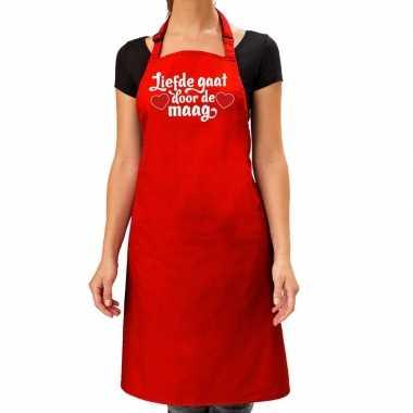 Liefde gaat door de maag keukenschort rood dames / moederdag