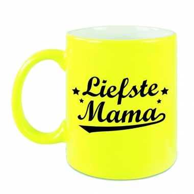 Liefste mama mok / beker neon geel voor moederdag/ verjaardag 330 ml