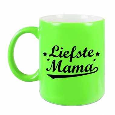 Liefste mama mok / beker neon groen voor moederdag/ verjaardag 330 ml