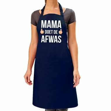 Mama doet de afwas cadeau katoenen schort blauw voor dames