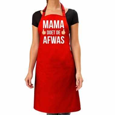 Mama doet de afwas cadeau katoenen schort rood voor dames