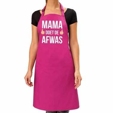 Mama doet de afwas cadeau katoenen schort roze voor dames