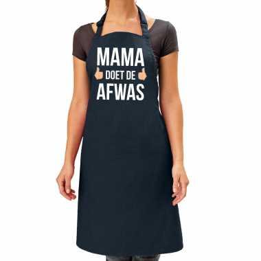 Mama doet de afwas cadeau katoenen schort zwart voor dames