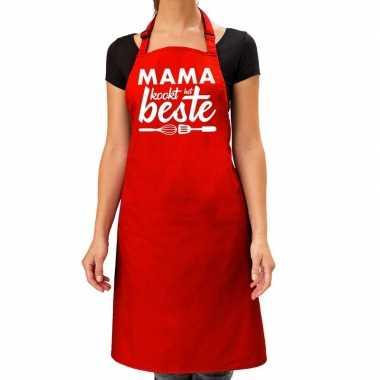 Mama kookt het beste keukenschort rood voor dames / moederdag